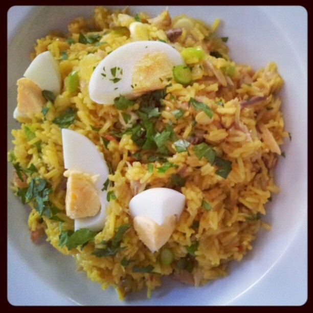 kedgeree of  smoked mackerel