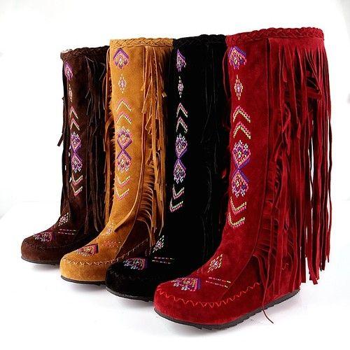 Womens Boho Stylish Fringe Tassel Embroidery Pull on Knee High Moccasins Boots | eBay