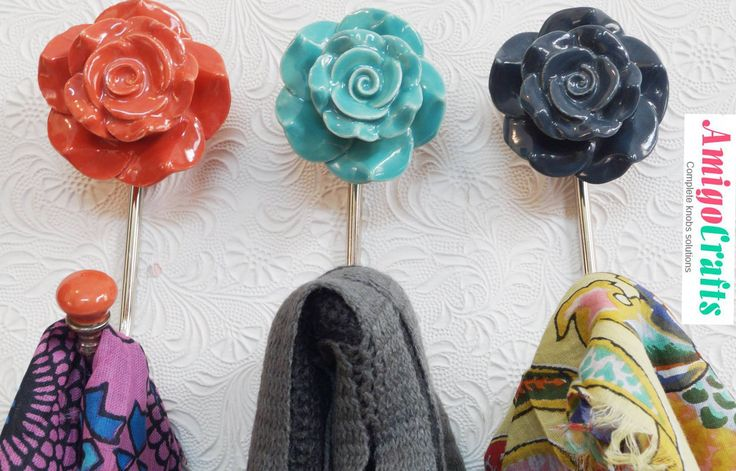 Beautifully handcrafted Ceramic Flower Hooks& Hangers.