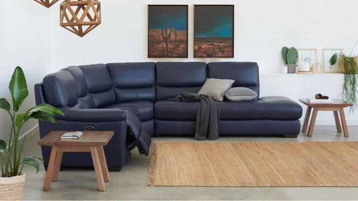 Studio Powered Leather Recliner Corner Sofa - Recliner Lounges - Living Room - Furniture, Outdoor & BBQs | Harvey Norman Australia