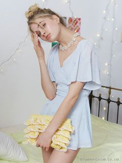 snidel(スナイデル)通販 |カシュクール刺繍ロンパース