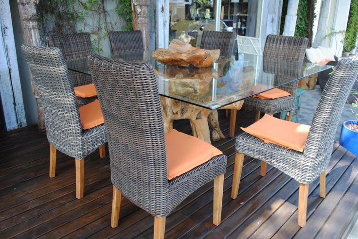 decoracion #muebles #exterior mesa comedor raiz teca con vidrio ...
