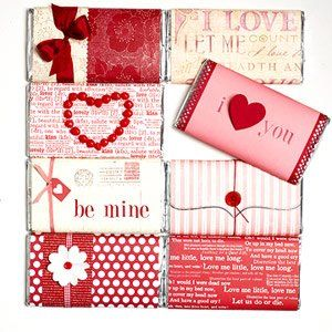~Wrapped in Love~  Cover chocolate bar with scrapbook paper.  Add ribbon, buttons, stamps, or cutouts to make it even more personal, the possibilities are endless~