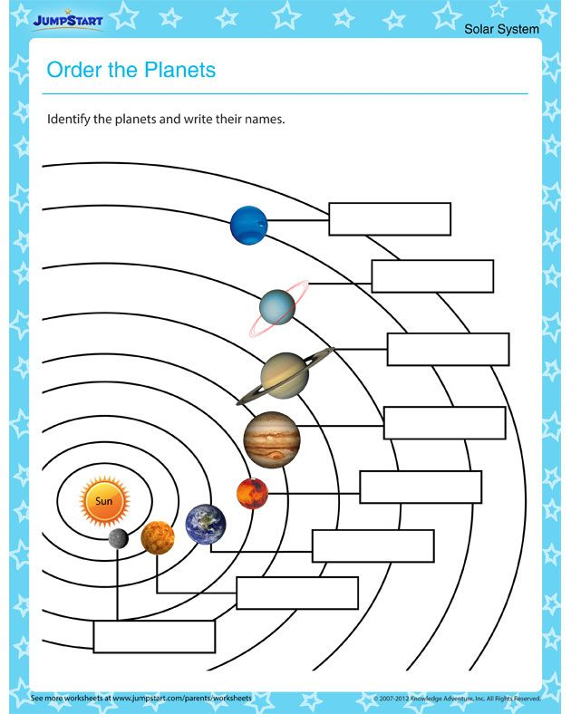 Order the Planets – Solar system worksheets for kids ...