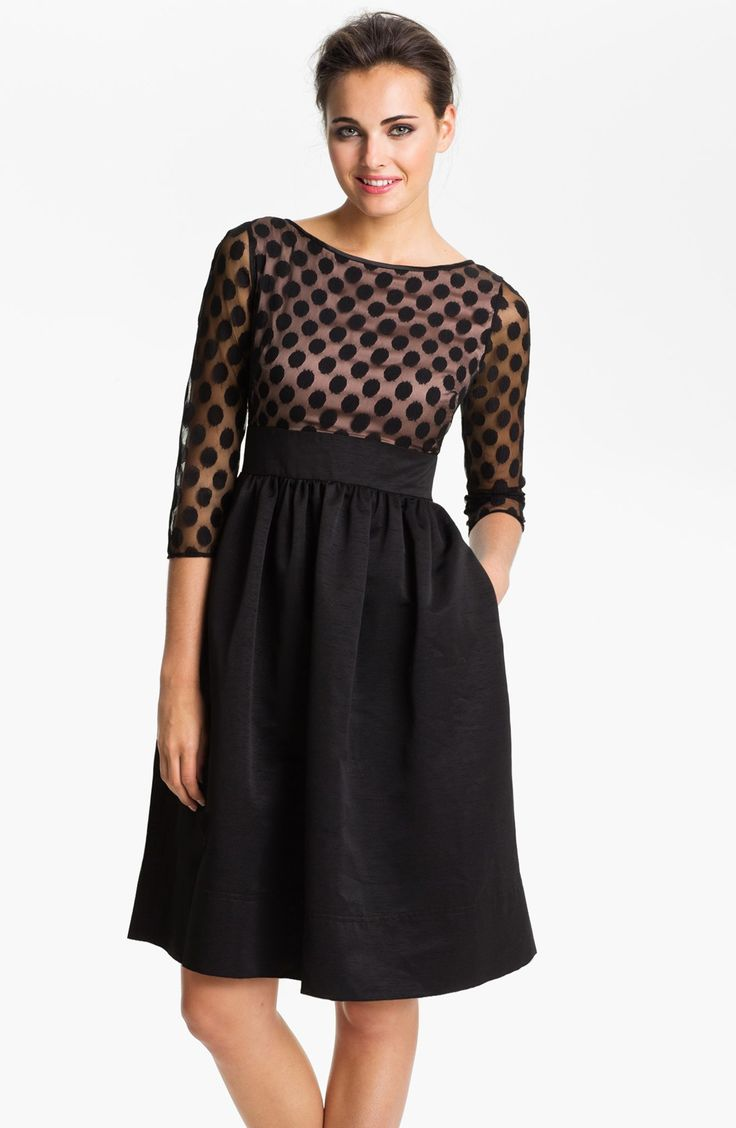 I would love this dress  Eliza J Dot Mesh Bodice Fit & Flare Dress (Regular & Petite) | Nordstrom