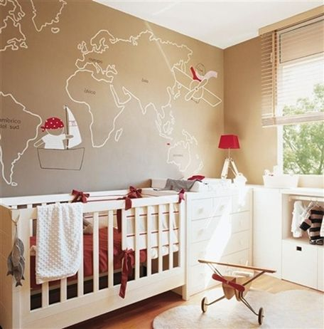 Couple things I love about this. 1.Painted map on the wall. 2. Very Montessori, child-height closet.