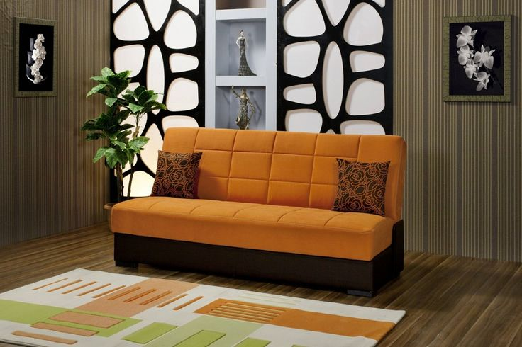 Furniture Bewildering Orange Foam Single Sofa Bed Chocolate Wooden Flooring Polyester Fabric Carpet Dacron Modern Cushion Beautiful Picture Modern Sleeper Sofa Modern Sleeper Sofa