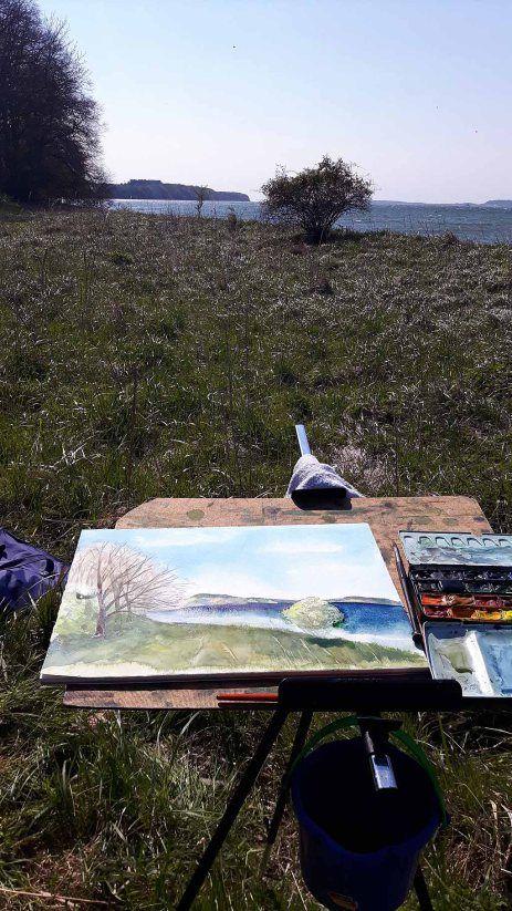Malen bei Alt Reddevitz – Etappe unsererMalreise auf Rügen   Malen am Having bei Alt Reddevitz (c) FRank Koebsch (5)