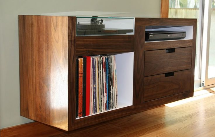 Custom Floating Record Player Cabinet Gorgeous For The