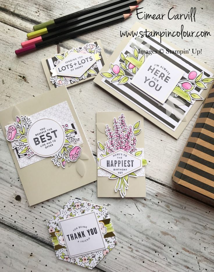 Eimear Carvill, www.stampincolour.com Lots of Happy Card Kit, from the Stampin' Up Spring Summer 2018 catalogue coloured with watercolour pencils for quick and easy crafting, #papercrafting, #cardmaking #craftingclassesSwindon
