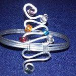 Bracciale da avambraccio in alluminio e perline colorate trasparenti