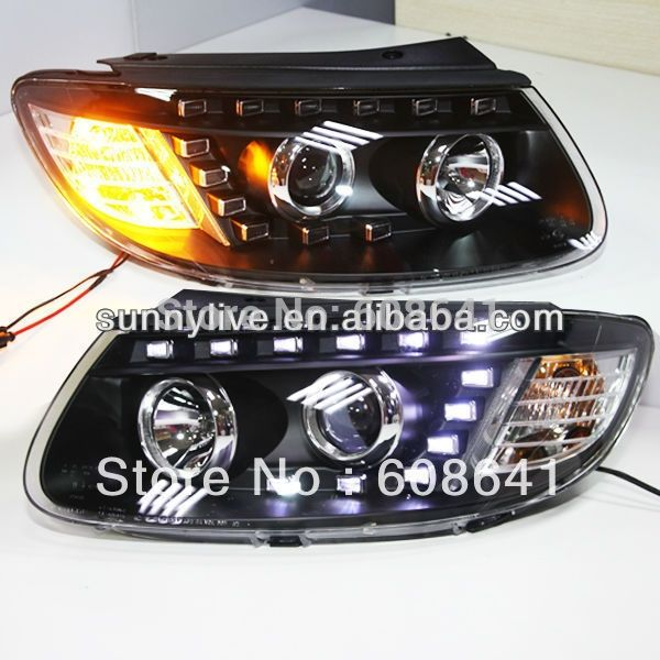 469.99$  Buy now - http://alifcx.worldwells.pw/go.php?t=778150528 - For 2006-2010 Hyundai Santa Fe LED Head Lamp With D2H 5000K HID kit 469.99$