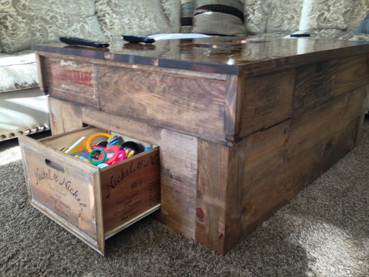 Vintage DIY coffee table made from stained wine crates