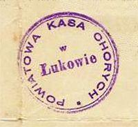 Pieczęć Powiatowej Kasy Chorych w Łukowie. 1928 r.