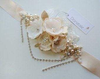 Wedding Sash , Bridal Sash , Wedding Sash Belt , Bridal Dress Belts Sashes , Wedding dress belt sash ,Champagne Flower sash - KATHRYN