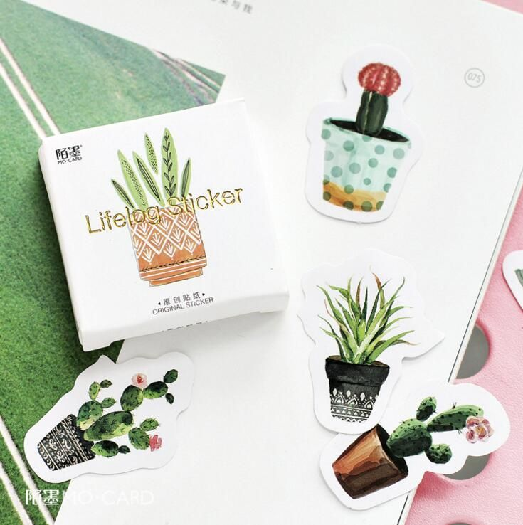 45 pcs/pack Pot Cultured Green Plants Label Stickers Decorative Stationery Stickers Scrapbooking DIY Diary Album Stick Label  Price: 0.95 USD