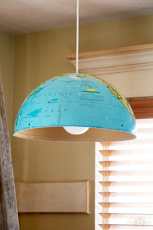 DIY light using half of world globe - love this idea!: