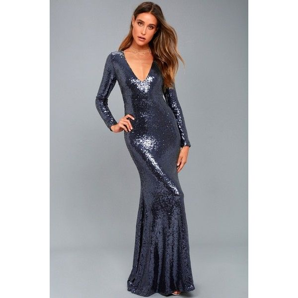 Lulus  Capture the Moon Navy Blue Long Sleeve Sequin Maxi Dress ($89) ❤ liked on Polyvore featuring dresses, gowns, blue, sequin maxi skirt, high waisted maxi skirt, long evening gowns, long sleeve gowns and maxi skirts