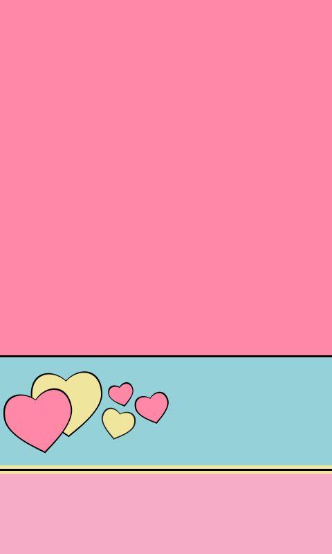 Corações rosa e amarelo
