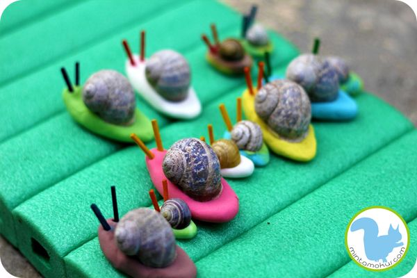 """""""drying out"""" Play dough snails"""