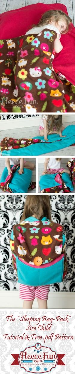 DIY Back pack/Sleeping bag tutorial SUPPLIES: The Free .pdf pattern printed up and assembled (you can download the pattern by clicking the pattern envelope below) 1 1/2 yards Jersey Knit 1 2/3 fleece (color 1) 1 1/2 fleece (color 2) 3 inches sew on velcro 1 1/2 quilt batting or crib quilt size package thread scissors sewing machine Marking pen Button (optional).