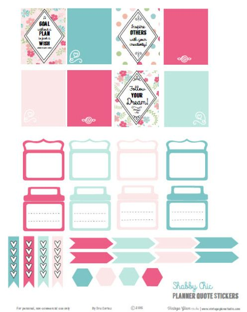 Shabby Chic Planner Quotes | Free printable download, suitable for Erin Condren life planners and other vertical weekly planners.