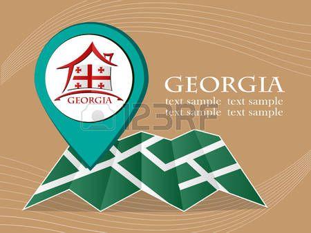 mapa con la bandera del puntero ilustración vectorial de Georgia