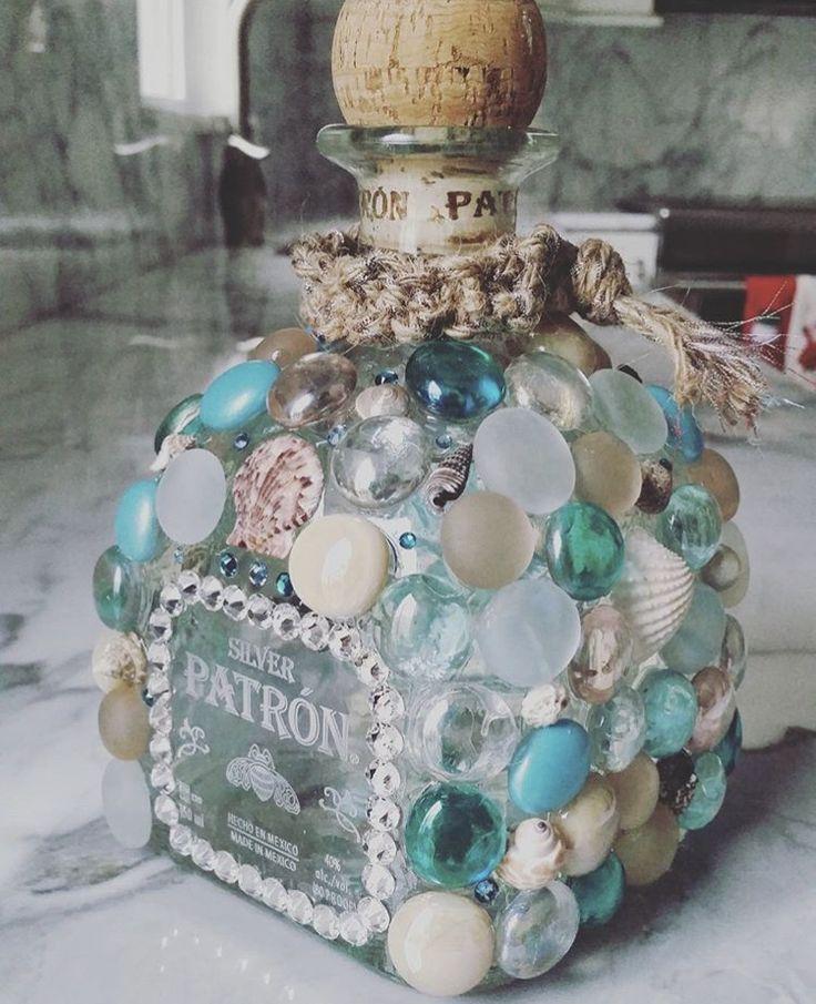 DIY Patron bottle bedazzled beach theme