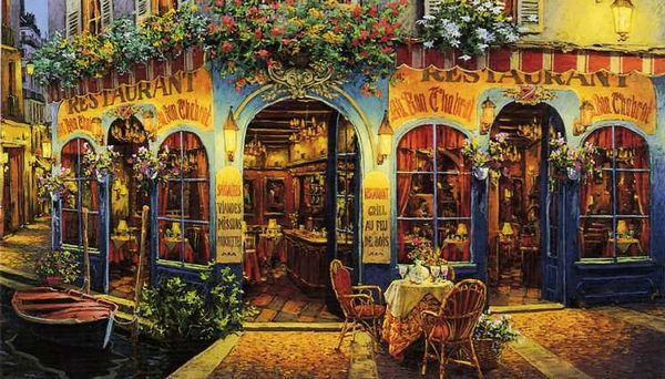 European plein air dining ~ Au Bon Chabrot by Viktor Shvaiko