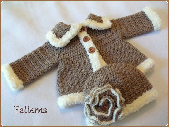 CROCHET PATTERNS for The Charlie Baby Girl Hat & Sweater Set ****This listing is for an Instant Download PDF Crochet Pattern Only - Not a finished item****  This Sweater and coordinating Hat feature a beautiful pattern stitch and fluffy Chenille Style yarn. The sweater features a soft and fluffy trim, an A-line shape, and a beautiful deep collar. The hat features a beautiful flower that can be easily adorned with buttons or bead(s).  Included with the Sweater & Hat patterns are instructions…