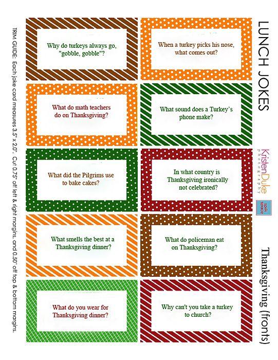 Thanksgiving Lunch Jokes, free printables for kids lunches KristenDuke.com