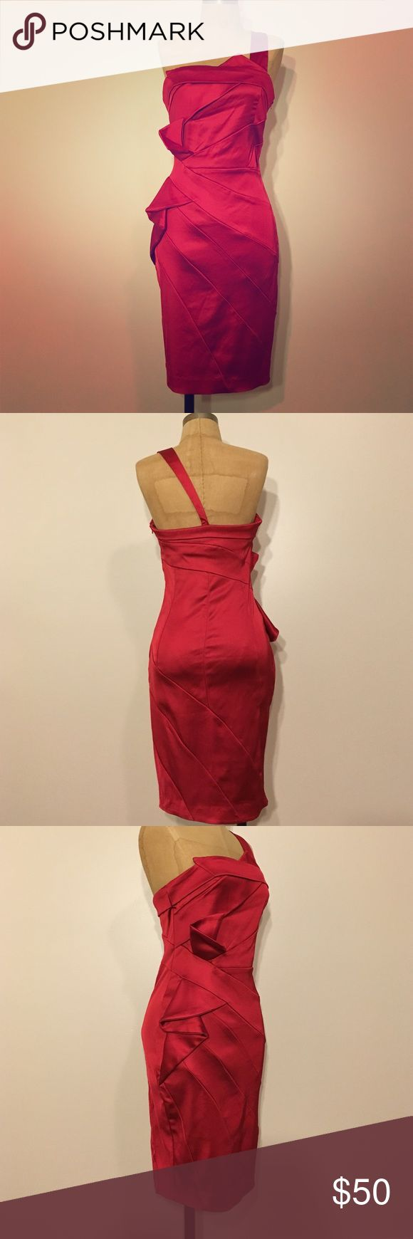 VaVa Voom is right Sexy red one shoulder cocktail dress.  Features fan detail on right hip. Zips on left side.  Will accent your curves beautifully. Never worn. va va voom Dresses One Shoulder