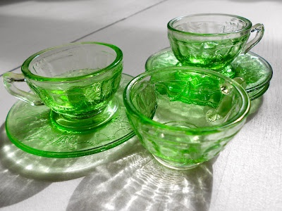 green depression glass coffee cups