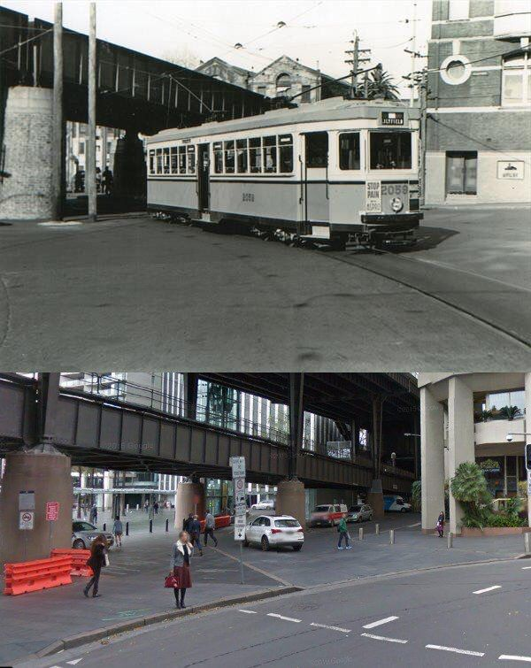 Alfred St & Circular Quay East 1950's and 2015. [1950's-Trams Down Under>2015-Google Street View/by Phil Harvey]