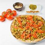 Pea and boletus vegan pizza.