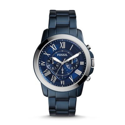 Grant Chronograph Blue-Tone Stainless Steel Watch Sleek, self-winding and styled to tick on time with a built-in rotor, our Grant does the work for you. Modeled after vintage clocks, this timeless automatic gets a seasonal update with blue-tinted dial finish and matching brushed blue stainless steel strap.
