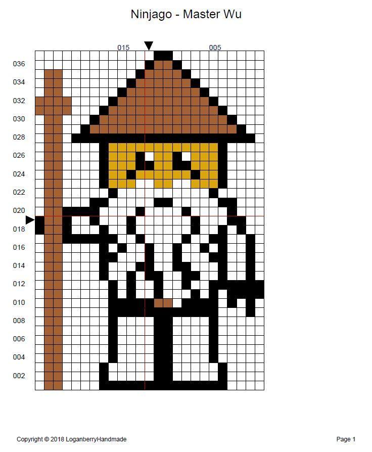 Ninjago Cross Stitch Pattern Free Sensei Wu Master Ninja