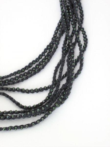 Necklace Halskette, gehäkelt mit Glasperlen
