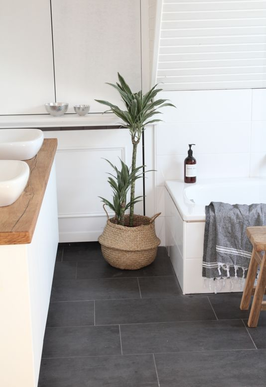 New bathroom inspo. White cabinetry, timber top, grey tiles