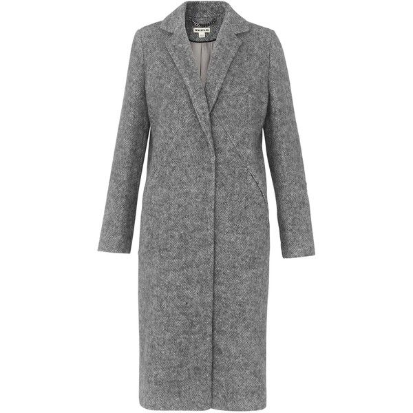 Whistles Herringbone Overcoat, Grey Marl (€110) ❤ liked on Polyvore featuring outerwear, coats, slim fit coat, grey overcoat, gray coats, long sleeve coat and slim coat