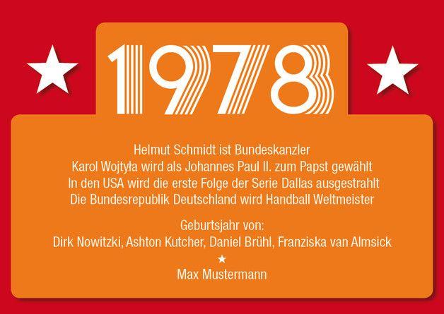 Einladungskarte zum 40. Geburtstag: 1978 Ereignisse ............ **So funktioniert die Bestellung:** Lege einfach die gewünschte Karte in den Warenkorb. Im Warenkorb gibt es ein...