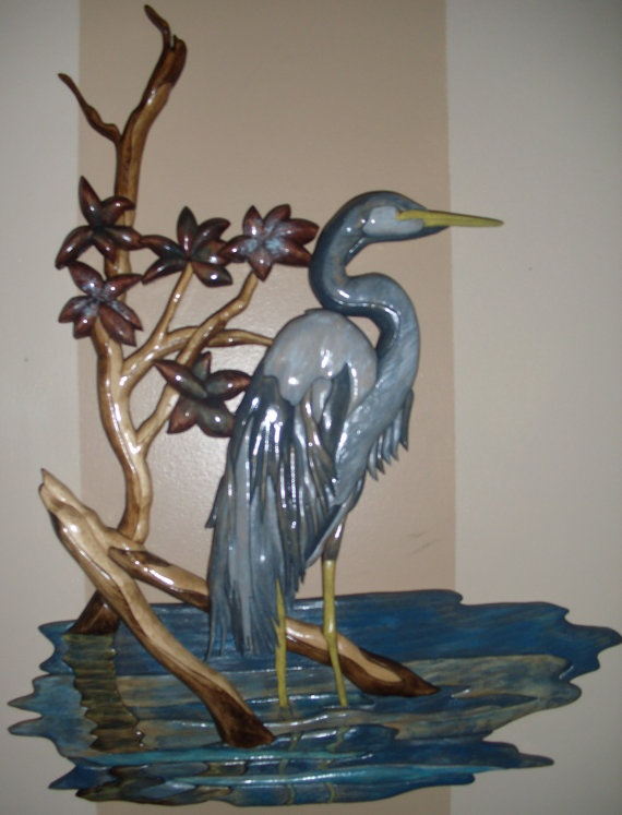 Great Blue Heron Intarsia by ScrolledUpWorkshop on Etsy, $225.00
