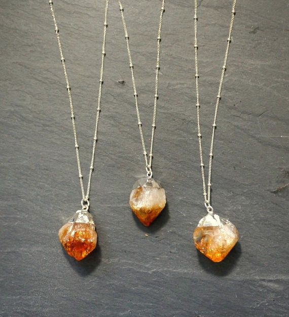 Raw Citrine pendant on a custom length Sterling Silver Satellite chain.  Citrine is known as the stone of abundance, manifesting wealth and strengthening success.