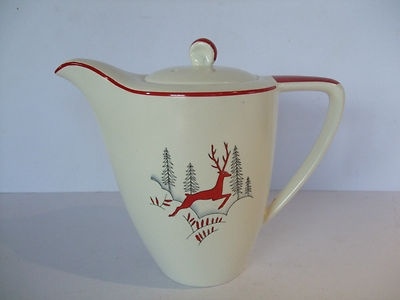 Crown Devon Stockholm leaping deer coffee pot - I really need to save up enough to buy some of this for next Christmas