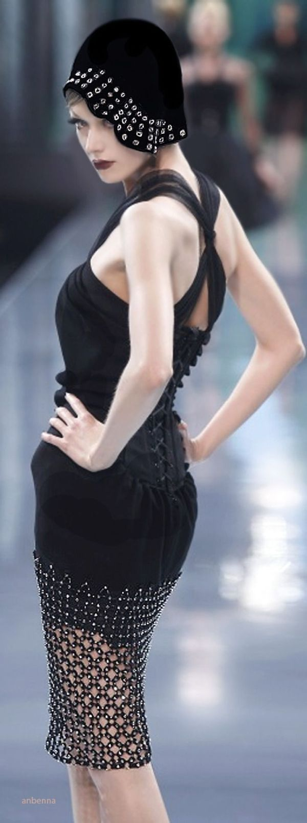 Christian Dior | silver rivets detail | modern & vintage Art Deco style black hat & little black dress