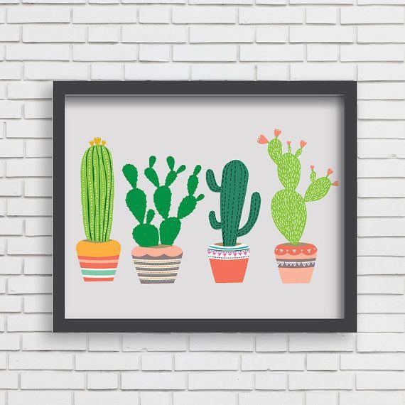 Southwest Cactus Art Print Home Decor Arizona Art - 4 Cactus Print - 8 x 10 ou 11 x 14