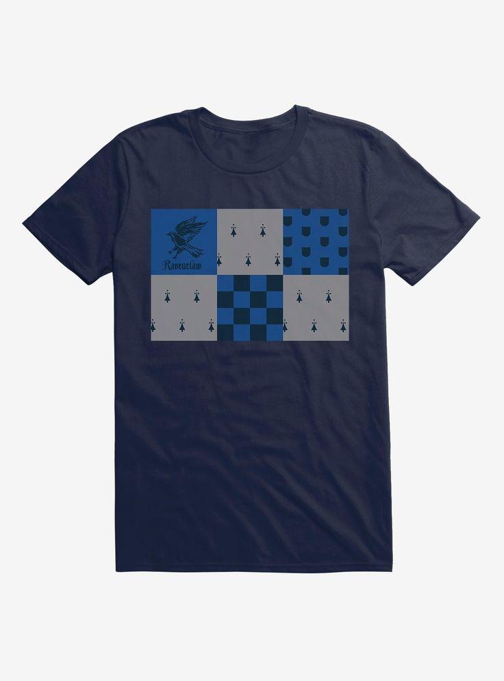 Coolteess Com Harry Potter Ravenclaw Checkered Patterns T Shirt Midnight Navy Long Sleeve Sweatshirt Checkered Pattern Harry Potter Ravenclaw Ravenclaw