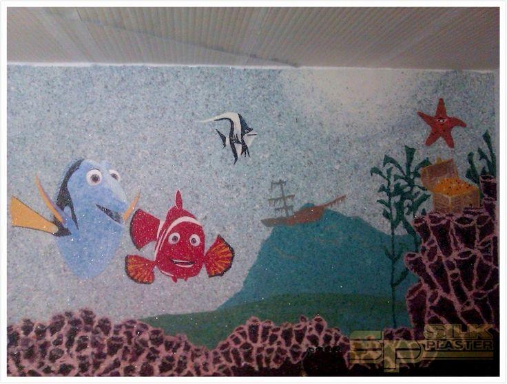 #Аквариум на всю #стену в #детской #своими_руками  #жидкими_обоями #SILK_PLASTER. https://www.plasters.ru/info/design-ideas/dizayn_detskoy/chepurnov_ivan/