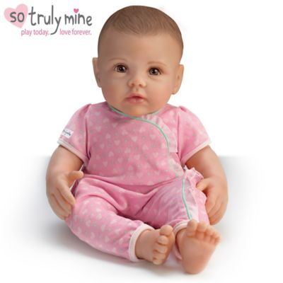 For ages 3 and up! Handcrafted of RealTouch® vinyl with hand-painted features. Weighted and poseable. Arrives with cloth diaper, pink sleeper.