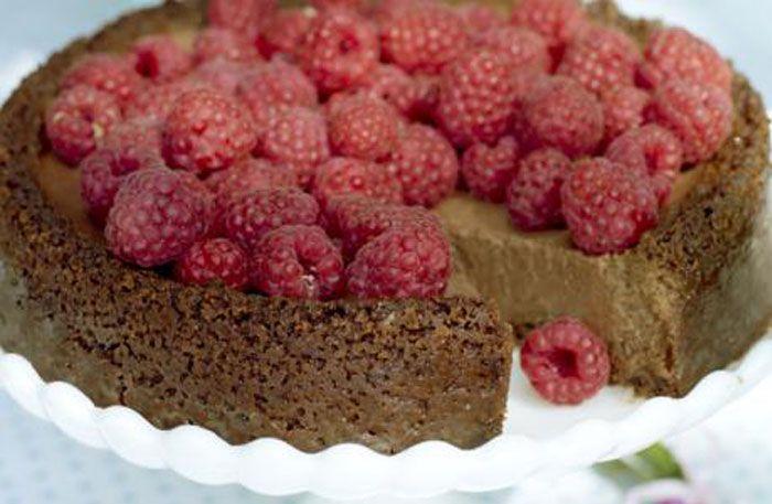 Chokladcheesecake med hallon